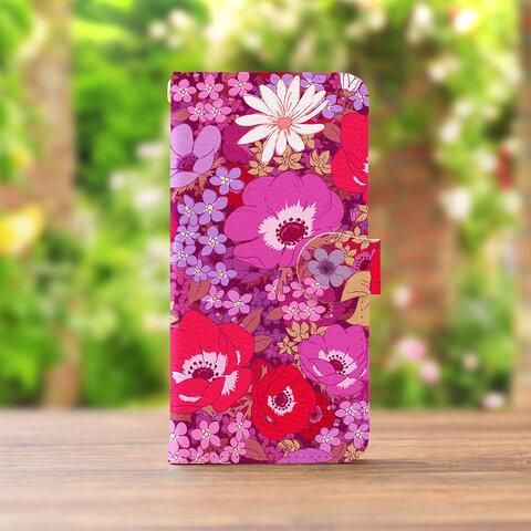 アネモネナイトマゼンダの スマホケース 手帳型  iPhone XPERIA GALAXY AQUOS HUAWEI ケース 全機種対応 花柄