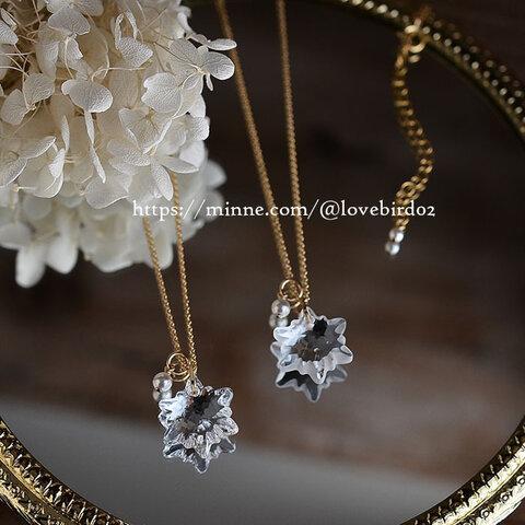 14kgf★スワロフスキー・雪の結晶ネックレス