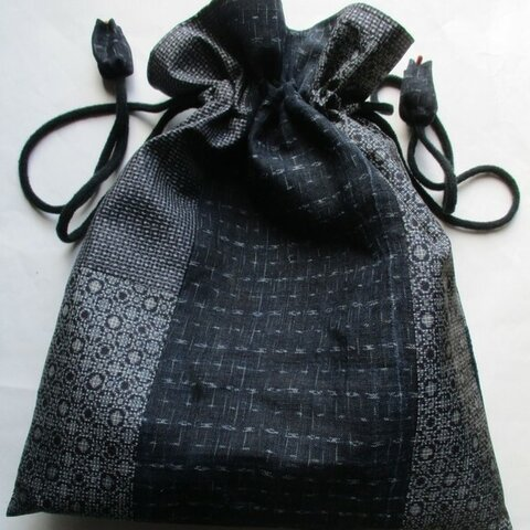 5866 大島紬と麻の着物で作った巾着袋#送料無料