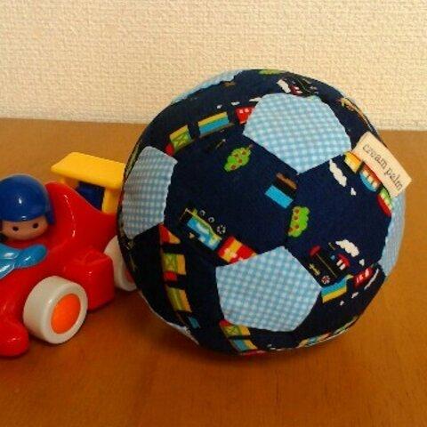 鈴の音布ボール 汽車(紺)× 水色チェック