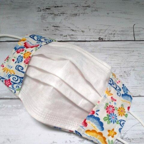 沖縄紅型松竹梅柄の不織布マスクカバー(白色)