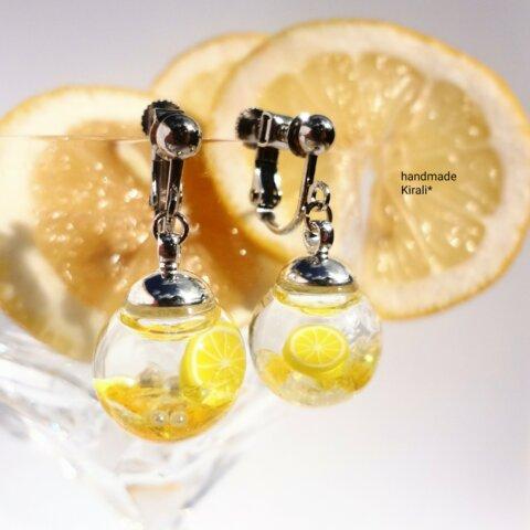 しゅわっと☆レモンスカッシュの液体ガラスドームイヤリング