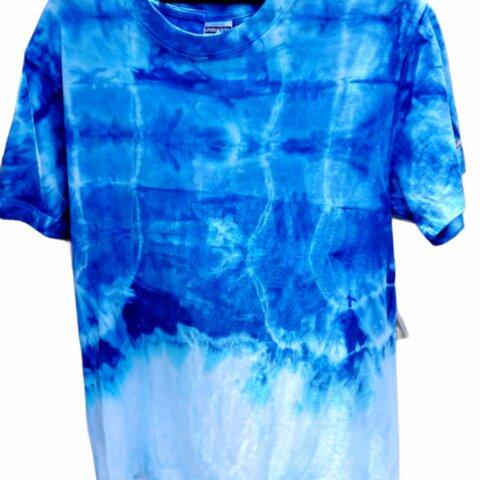 男女兼用 【染色 半袖 Tシャツ】Sサイズ  青→白  一点もの