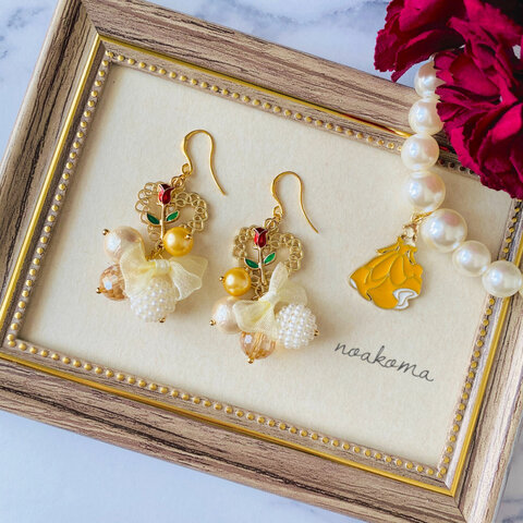beauty and the Beast*パールピアス/イヤリング