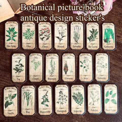 植物図鑑のようなボタニカルステッカー  20枚入