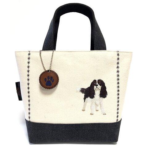 キャバリア刺繍⭐︎帆布のバイカラートートバッグ