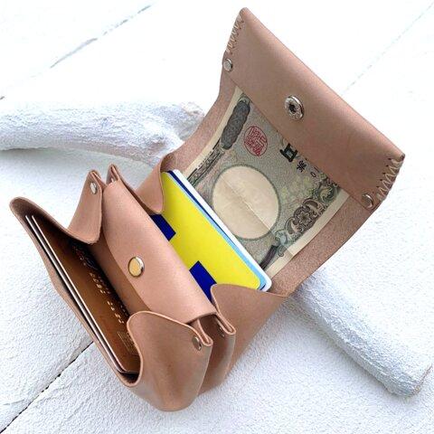 『送料無料』 ヌメ革【お札が折れないアコーディオンミニ財布】美しい飴色に育つノンファンデーションレザー