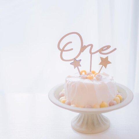 木製ケーキトッパー♪1歳 誕生日 One ファーストバースデー🎂