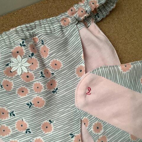 Wガーゼ使用【ピーチカラーピンクの小花】浅ばき、深ばき、S〜3L、ふんどしパンツ  リンパよけショーツ 下着 普段ばき mameパンティ