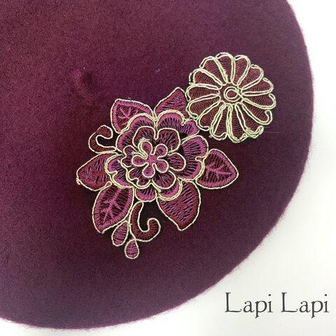【再販】一点物 花の刺繍 ベレー帽ボルドー レッド