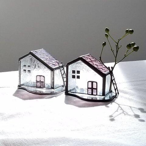 草原の小さなお家*+オブジェ*キャンドルホルダー*ステンドグラス