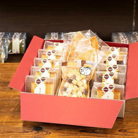 焼菓子詰合せ化粧箱(カステラカット10個・カステララスク・フィナンシェ2袋・リーフパイ4枚)