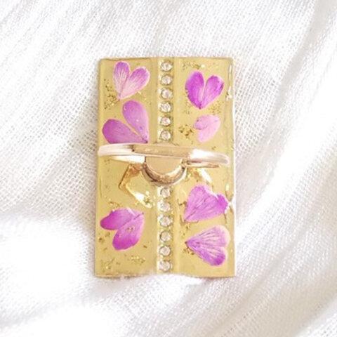 ★幸せあふれるピンクのハート押し花のスマホリング・バンカーリング 【ゴールド】★