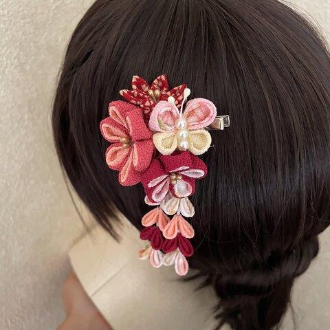 蝶々の髪飾り ピンク