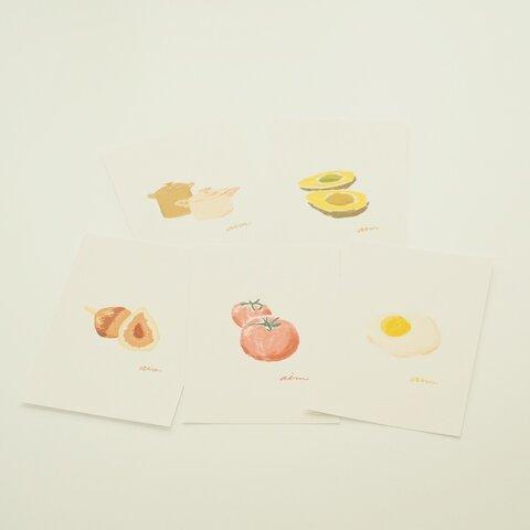 韓国風イラストポストカード  食べ物・キッチン