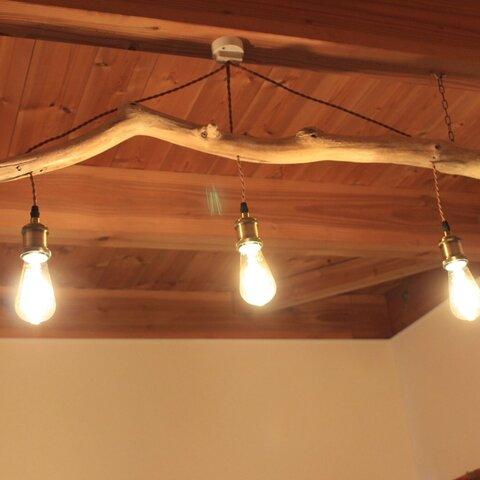 流木の照明 3灯 LEDエジソンランプ付き ④