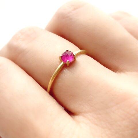 天然石 マダガスカル産 ルビー ローズカット 爪留めリング 指輪 silver925  18KGP