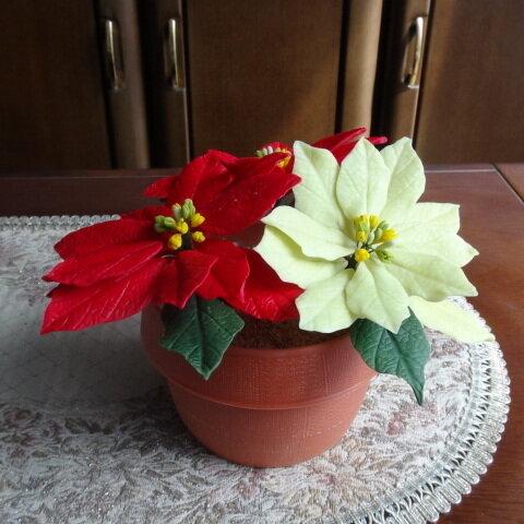 樹脂粘土で作った鮮やかなポインセチア花