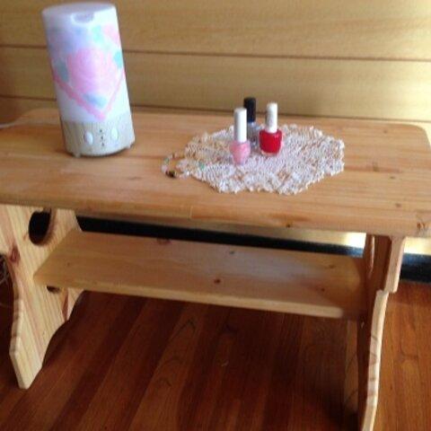♡ダブルハートの切抜き棚有りミニテーブル