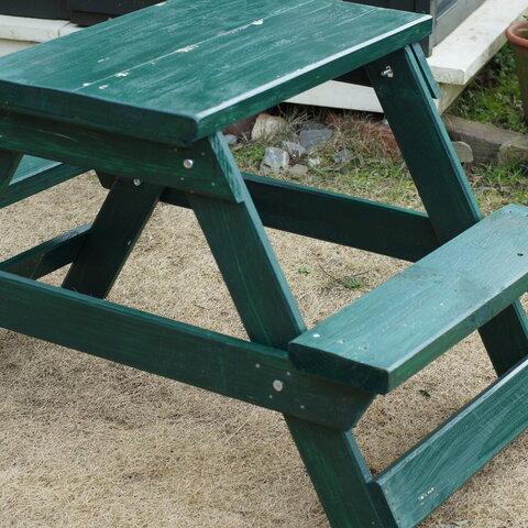 ガーデンテーブル ピクニックテーブル 子供机 ちゃぶ台 緑