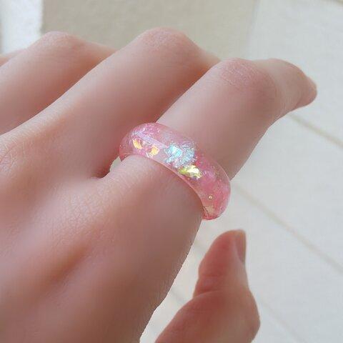キラキラ(✪▽✪)ピンクの輝くホログラムリング!