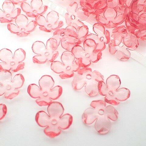 アクリル製フラワービーズ4つ花びら 小 24個★クリアピンク