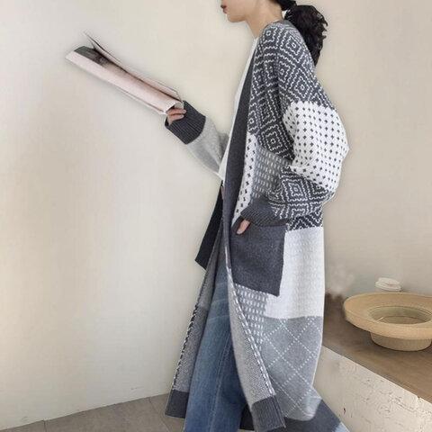 【グレー】カーディガン レディース 春 秋冬 長袖 厚手 アウター 羽織り オフィス ゆったり ロング丈