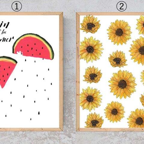 ''夏の雨''と''ひまわり畑''インテリアポスター