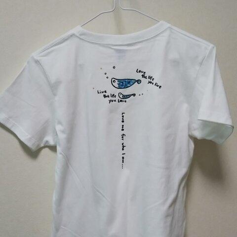 さかなプクプク M 手描きTシャツ