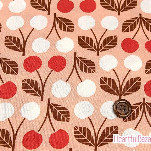 USAコットン(110×50) COTTON+STEEL Under the Apple Tree さくらんぼ レッド 生地 布