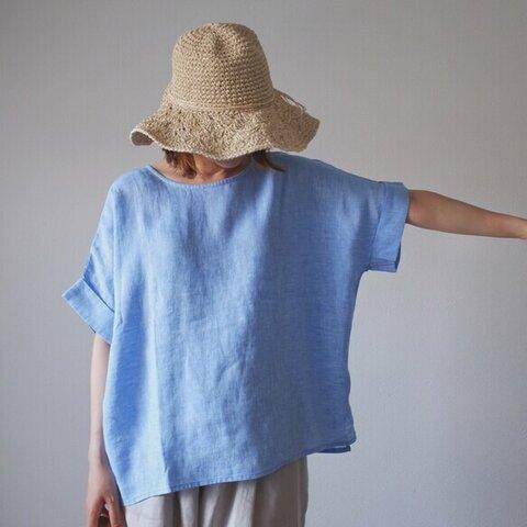 シンプル リネン ブラウス 大人かわいい 夏 秋 ナチュラル 麻 体型カバー 袖あり T112-F-BL