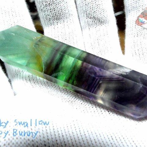✅『処分品セール』フローライト ダブルポイント 18サイド(フルオライト:蛍石:螢石:Fluorite:レインボーフローライト) No.2912 現品販売
