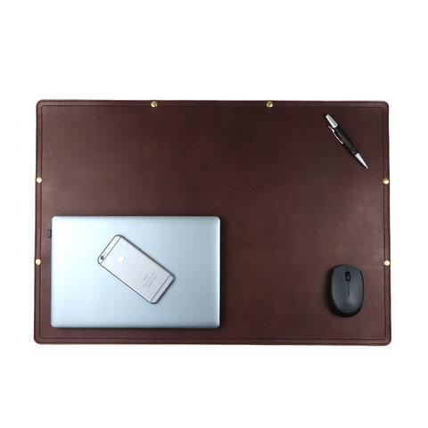 デスクマット(ダークブラウン) 牛革 本革 皮 レザー テーブル モニター テレワーク マウスパッド 大きい 大型 大きめ PC オフィス