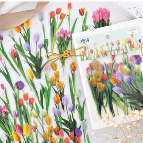 可愛いお花のPETフレークシール  チューリップ 40枚