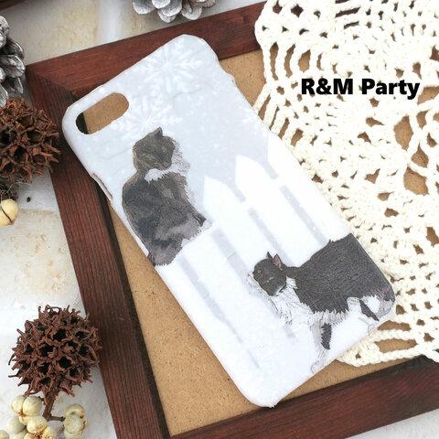 冬の日の猫達柄スマホケースiPhoneSE/iPhone12mini/iPhone8/iPhoneXR/iPhone11/iPhone12ProM/iPhone11Pro/iPhone11ProMax