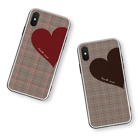 Big Heart♡秋色グレンチェック 強化ガラスケース/iPhoneケース/iPhone13Pro/iPhone12mini/iPhone8
