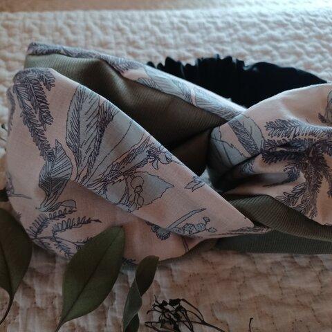 綿ローン 草花柄 ×コーデュロイ クロスヘアバンド ヘアターバン
