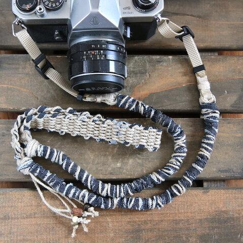 デニム裂き布麻紐ヘンプカメラストラップ(ベルト)