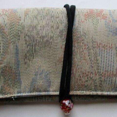 5867 色大島紬の着物で作った和風財布・ポーチ#送料無料