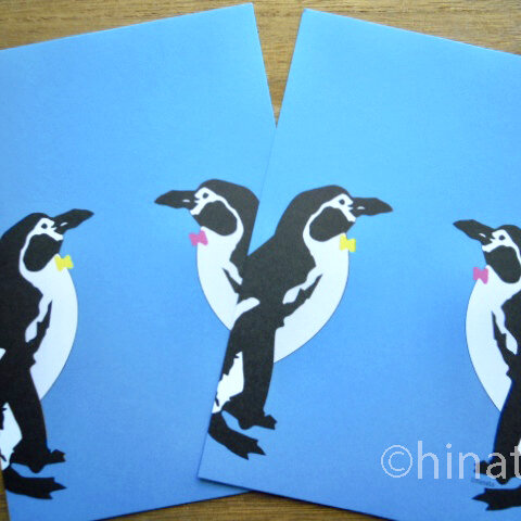 お洒落なデザインの「ペンギンポストカード」同柄2枚組