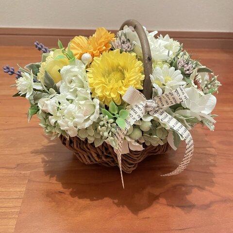 コロンと可愛い花籠 アーティフィシャルフラワー イエロー ビタミンカラー
