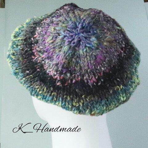 手編みグラデーションのベレー帽
