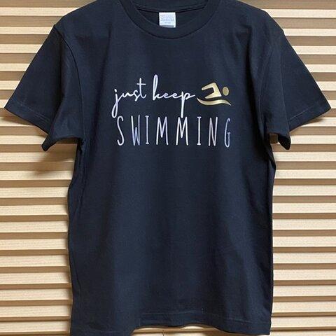 送料込み 水泳 デザイン Tシャツ 名前入り