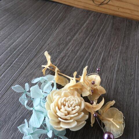 ハーバリウム用お花キット❤︎お花のみ【プリザ・ドライ】白・ブルー