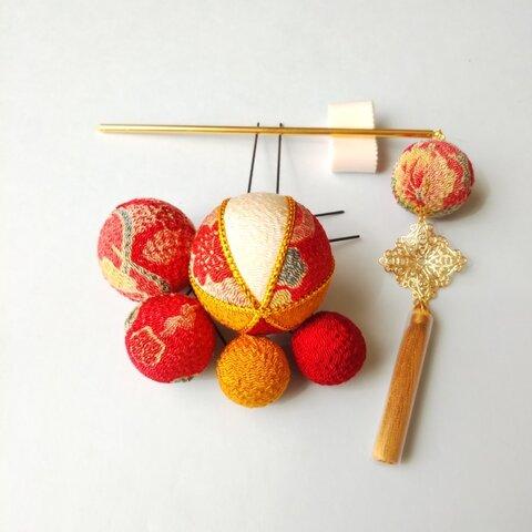 木目込み タッセル付6点セット(レトロ赤)/打掛 着物 成人式 振り袖 花嫁 和 髪飾り