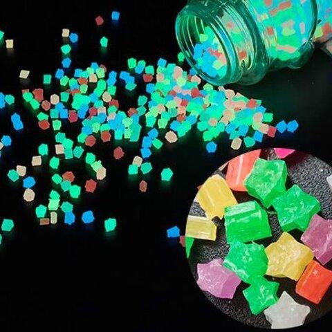 大量 蓄光粒 星 スター(カラフル10g)レジン レジンパーツ 夜光 青 赤 ピンク 黄 緑