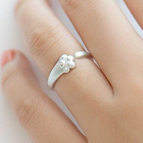 【再販売】 可愛い 猫 ネコ お手手 リング 指輪 シンプル 銀 シルバー SV オープン リング 【H3-2】サイズ変更