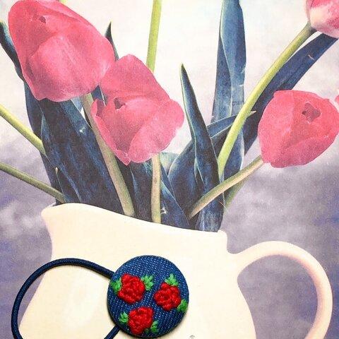 薔薇のflowerピアス・ヘアゴムセット