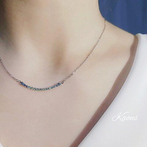 ステンレスネックレス🍀スカイブルー クリスタル シンプル ネックレス