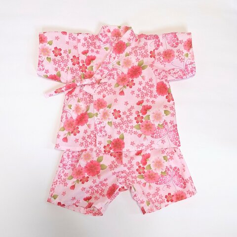 【90】キッズ甚平❁桜とちょうちょ